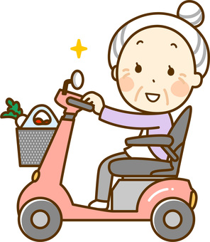 Granny who walks with a senior car