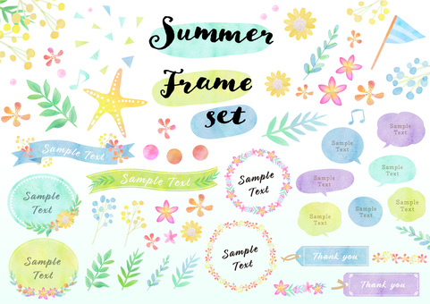 Seasonal material 085 summer watercolor frame