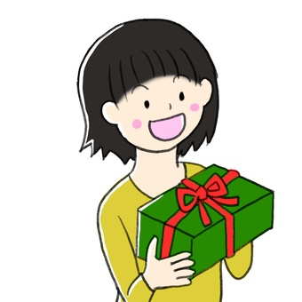 A girl who gets a present
