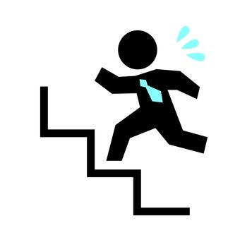 Person who runs up stairs