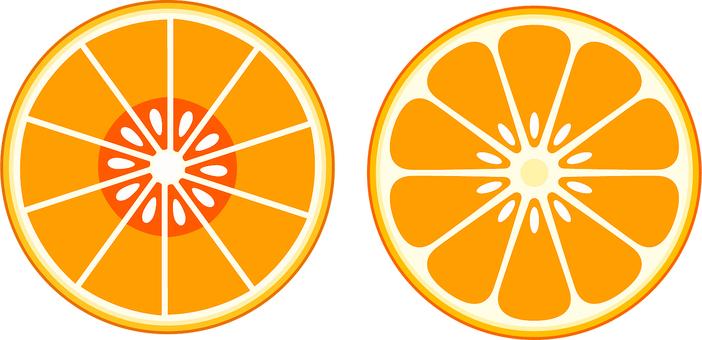 Round sliced oranges