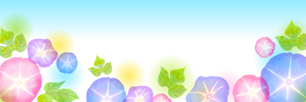 Watercolor-style morning glory header