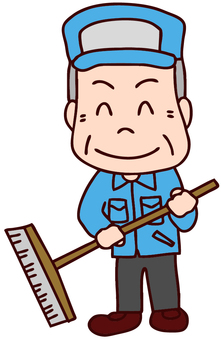 Illustration of a cleaning worker