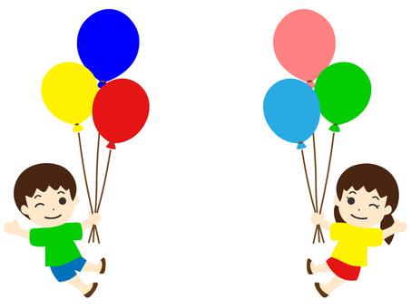 風船で浮かぶ子ども 手をあげる