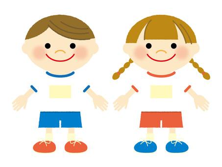 Children in gym uniform