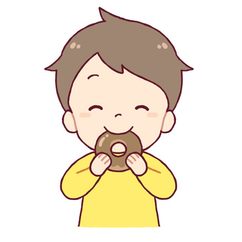 A boy who eats a donut