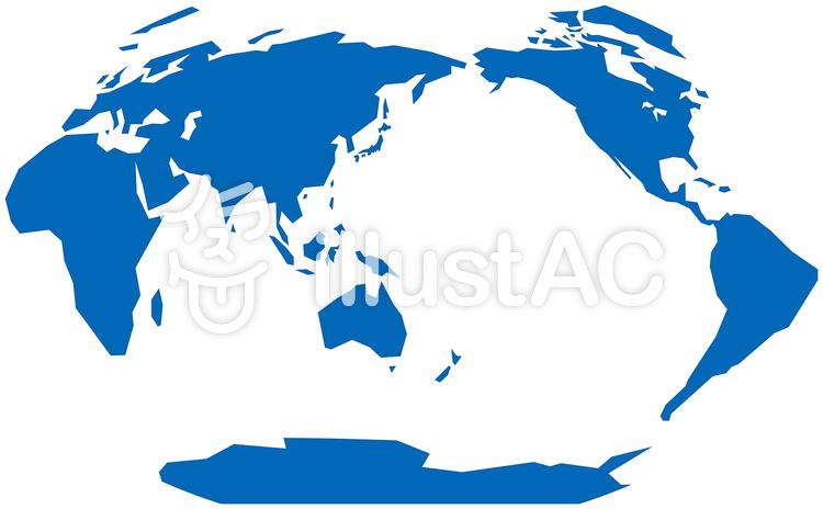 ヴィンケル図法世界地図-単純化のイラスト