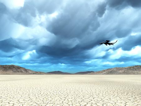 荒野を飛翔するドラゴン