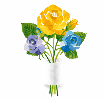 Rose bouquet / Yellow / blue / Father's daily use