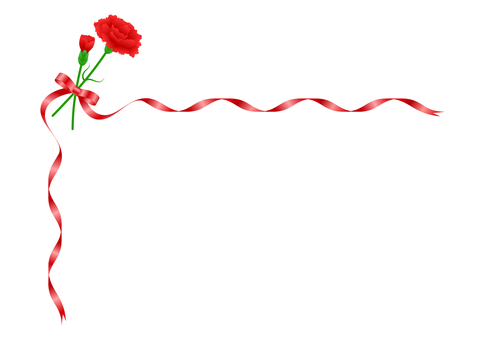 Red Carnation and Red Ribbon
