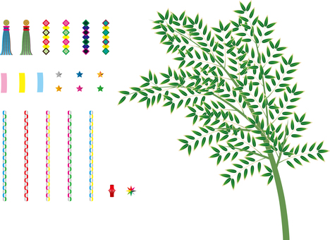 Set of bamboo and Tanabata decoration