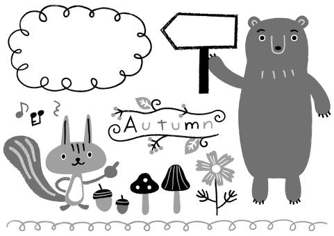 リスとクマとドングリとキノコ_モノクロ