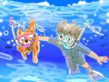 在浮潛的海上