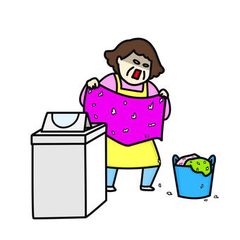 Washing machine tissue middle aged woman