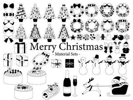 Christmas material set (monochrome)