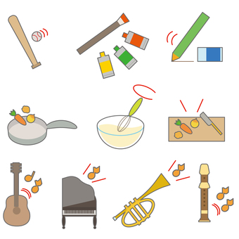 Musical instrument cooking study icon set