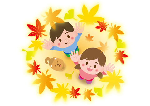 Shiba Inu with children looking up at the autumn leaves_A