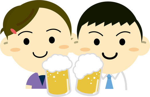 A couple drinking beer