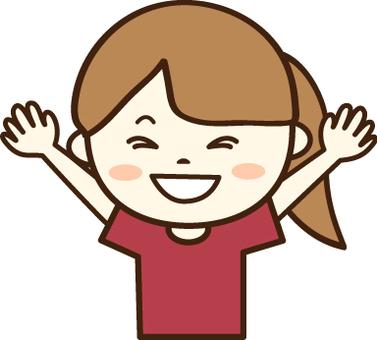 Red T-shirt girl (Smile 9)