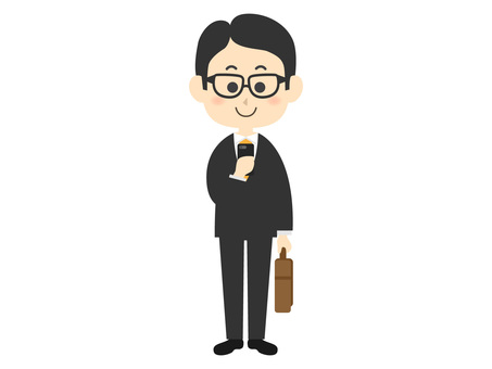 A salaryman who checks a smartphone