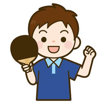 A boy holding a table tennis racket