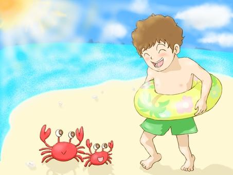 Sea, crab, boy