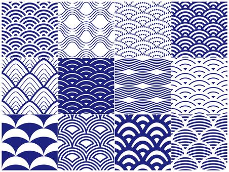 Wave pattern of Japanese pattern 12 patterns