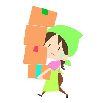 Moving - women carrying multiple cardboard boxes