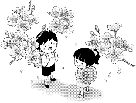 Elementary school student and cherry blossom
