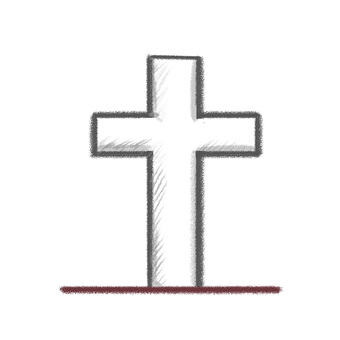 A grave of a foreign cross on the crayon style