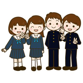 Junior high school student 4 men and women