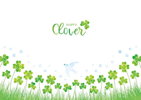 Spring background frame 045 clover watercolor
