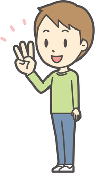 男の子グリーン長袖-214-全身