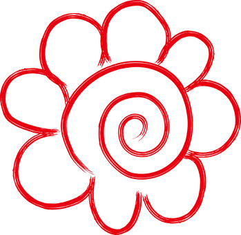 Flower circle icon Handwritten free hand illustration
