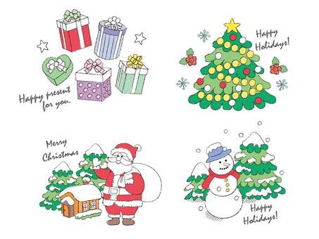 クリスマス_挿絵_手描き風