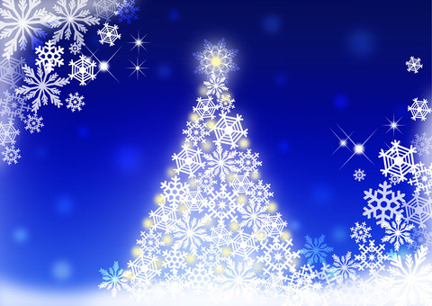 Christmas tree _ blue _ background