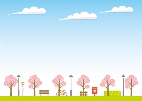 배경 (하늘과 산책로 봄의 하늘)