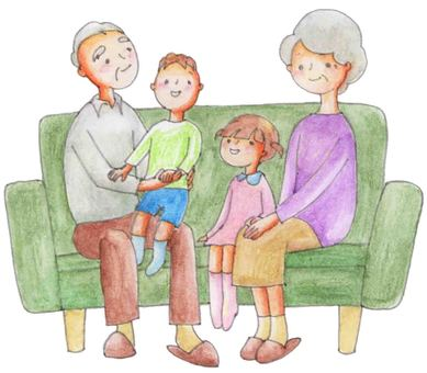 Family sitting on the sofa (grandparents grandchild)