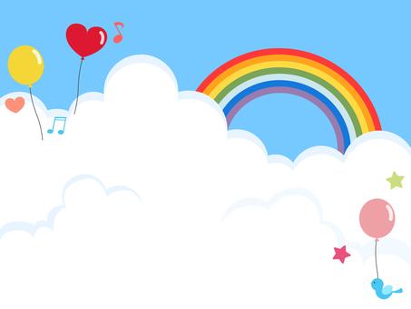 藍天氣球彩虹
