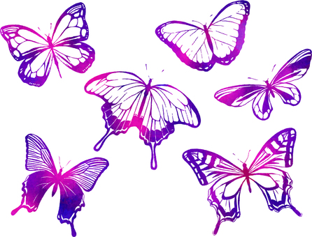 나비 수채화 실루엣