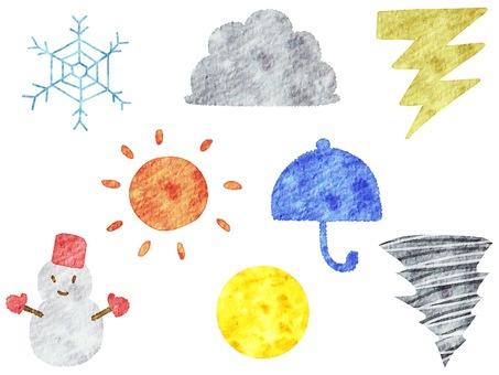 날씨 세트 수채화 풍