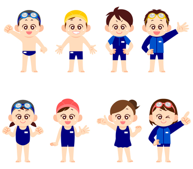 Children of various swimwear