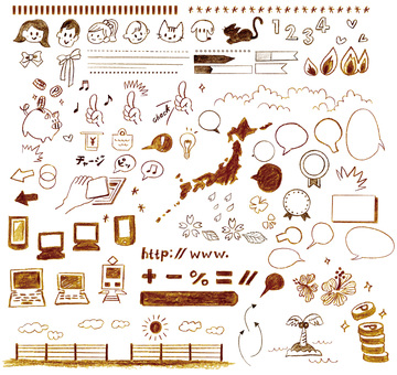 Handwritten girly icon illustration material set