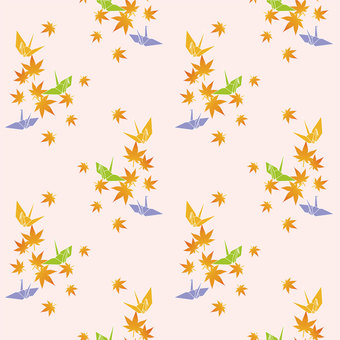 Folding crane and autumn leaves wallpaper (pink type)