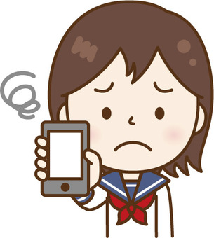 A woman in a sailor suit showing a smartphone White C
