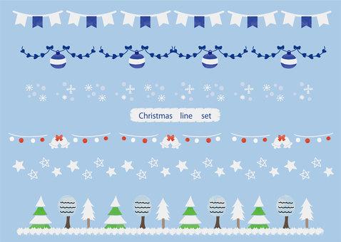 Watercolor christmas illustration line set