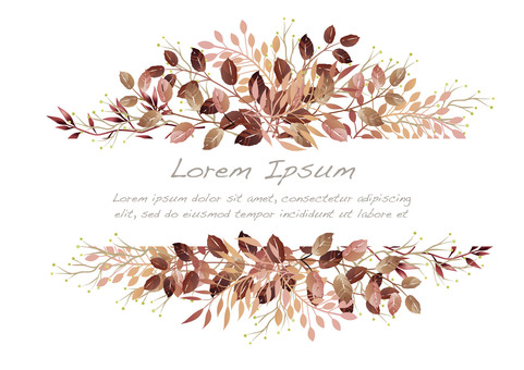 Watercolor botanical background with text space