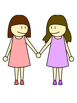 A woman couple connecting hands