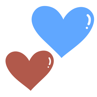 Heart set (blue and chocolate)