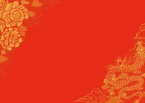 中華花柄背景イラスト